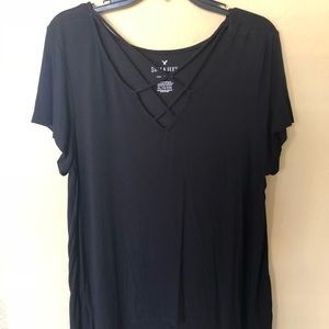 American Eagle tee with crossed chest strings